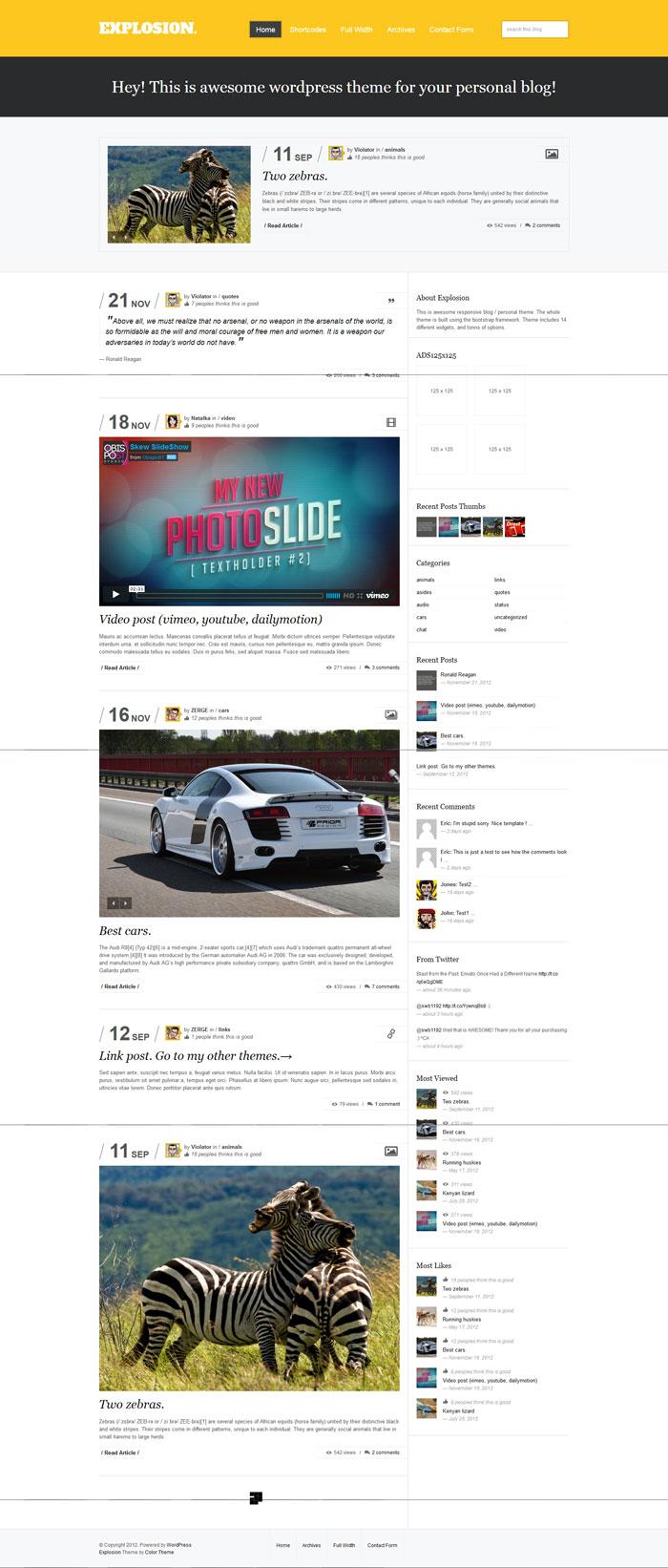 Explosion - Responsive WordPress Blog / Personal