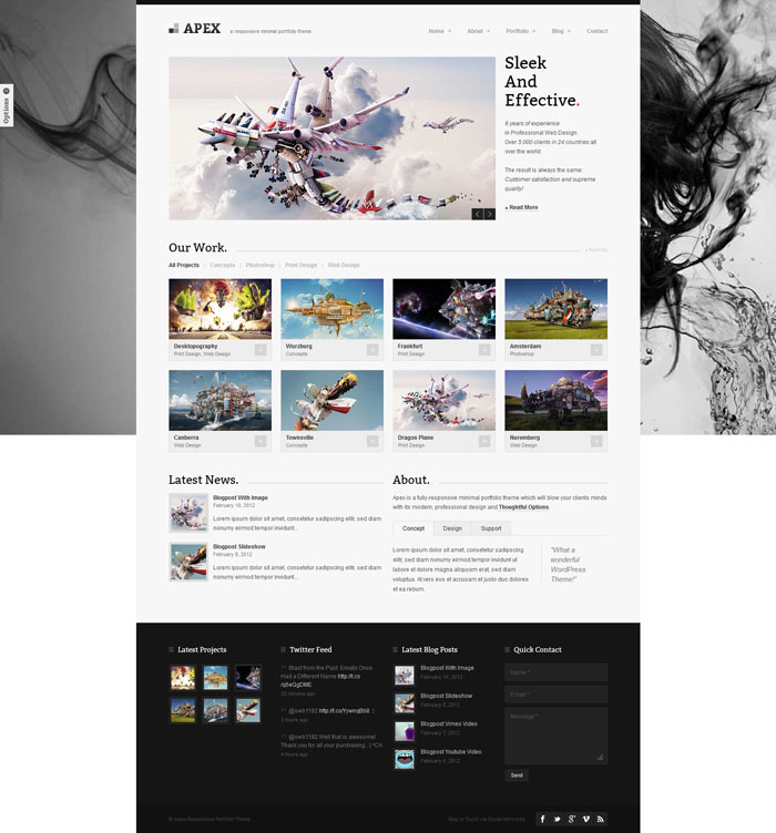 Apex Responsive WordPress theme design