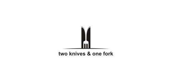 two knives & one fork Restaurant Logo Design