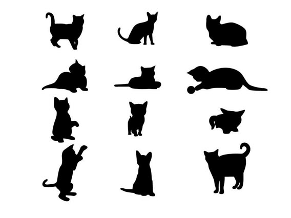 Download 11 cat vector silhouettes