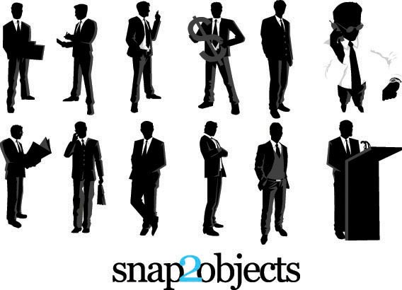 Download 12 free vector businessmen silhouettes part 2