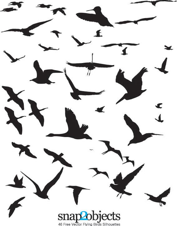 Download 46 free vector flying birds silhouettes