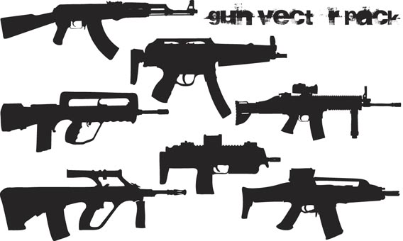 Download Gun vector pack Silhouettes