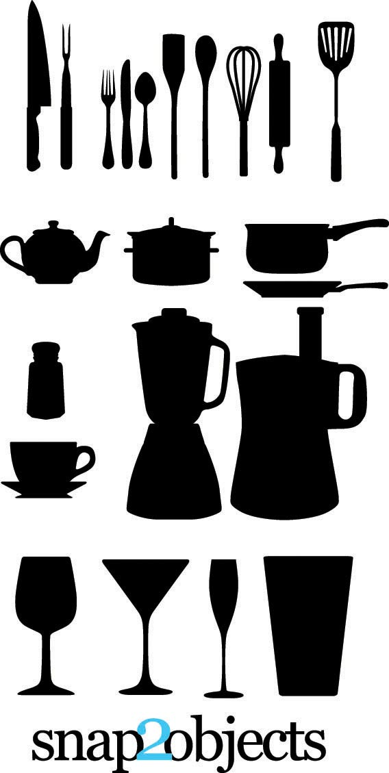 Download Free vector kitchen appliances silhouettes