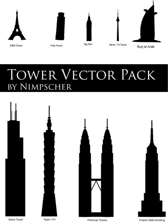 Download Tower Vector Pack silhouettes