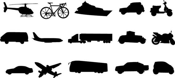 Download Free Means of Transportation Vector Silhouettes
