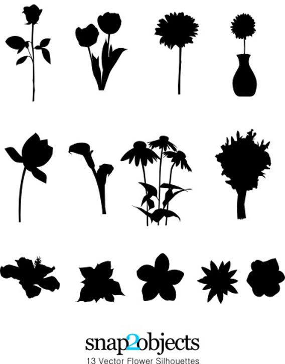 Download 13 vector flower silhouettes