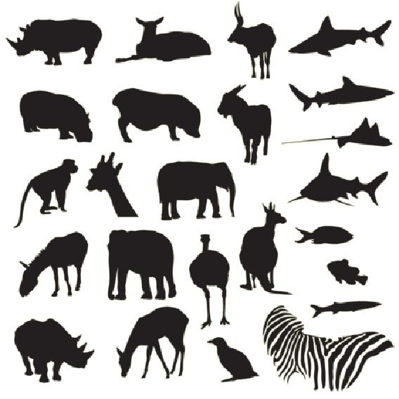 Download Free vector pack - Safari and zoo animals silhouettes
