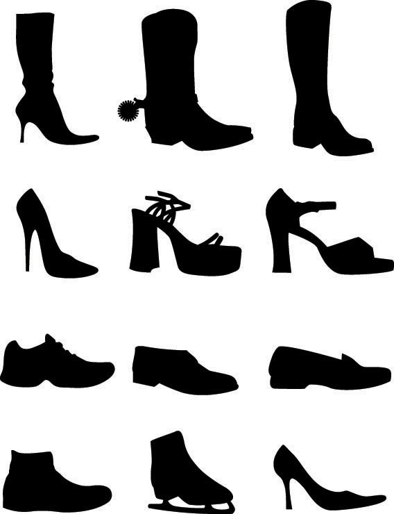 Download Shoe vector silhouettes