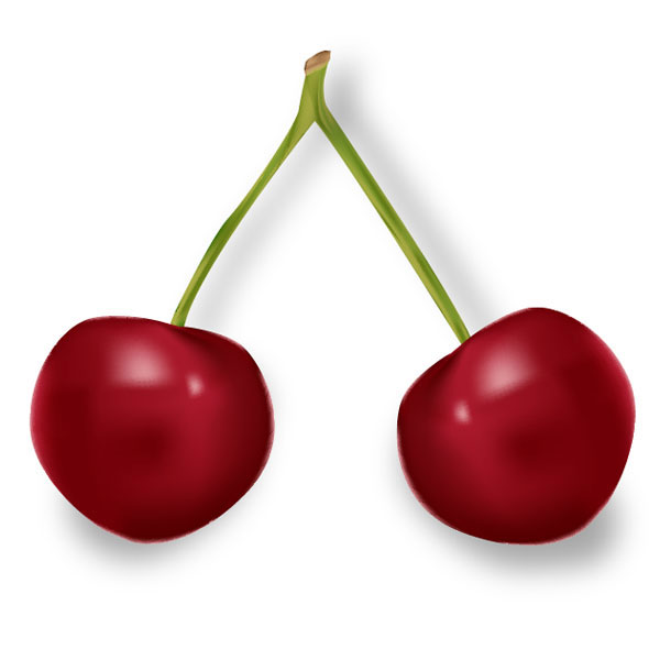 Illustrate a Pair of Sweet Gradient Mesh Cherries