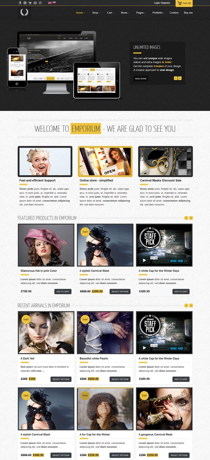 Emporium WordPress Theme Design