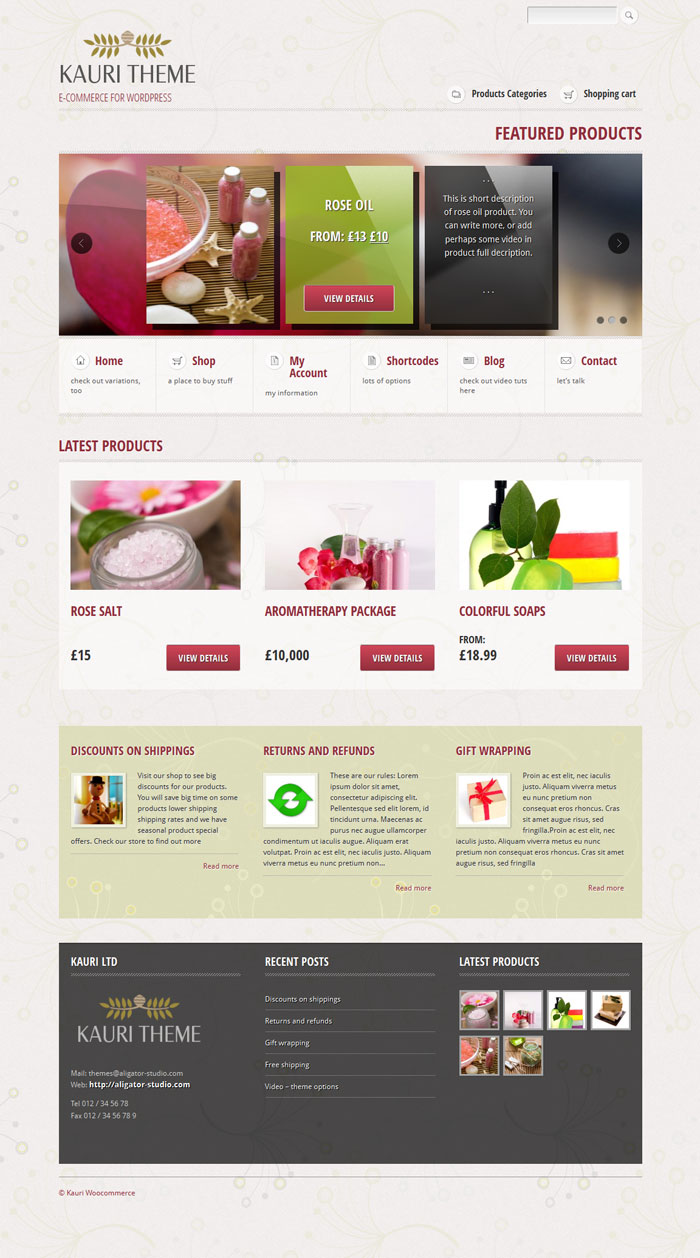 kauri WordPress Theme Design