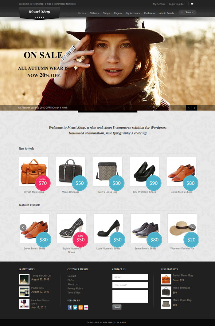 Mearishop WordPress Theme Design