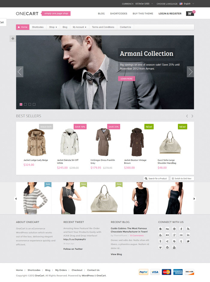 OneCart WordPress Theme Design