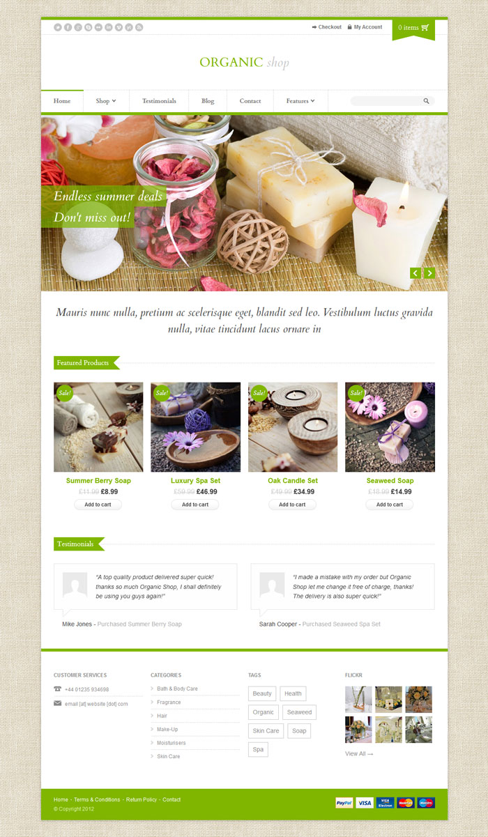 Organic Shop WordPress Theme Design