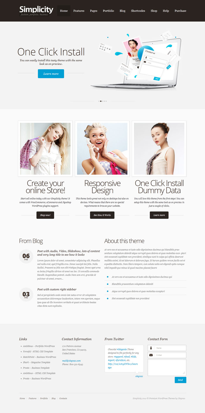 simplicity WordPress Theme Design