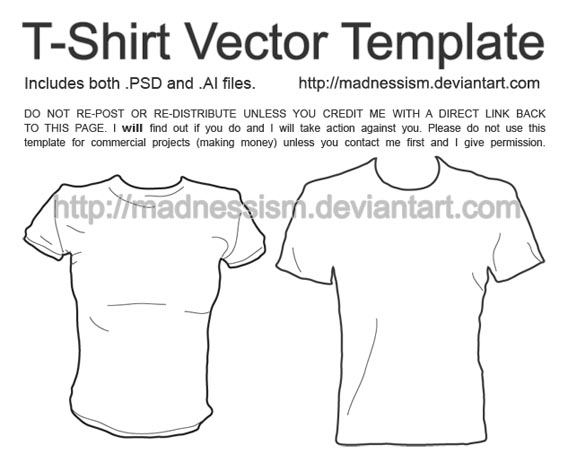 Tee_Shirt_Vector_Template_by_madnessism 82 FREE T-Shirt Template Options For Photoshop And Illustrator