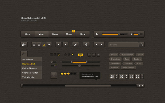 Sticky Butterscotch UI Kit User Interface Design Inspiration