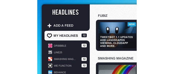 UI Design for Rss Reader app | Pokki User Interface Design Inspiration