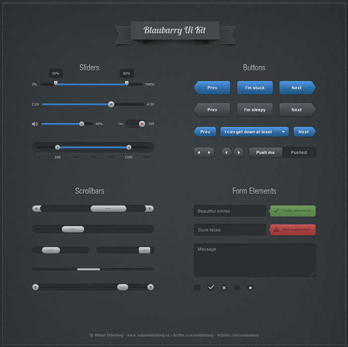 Blaubarry Free UI kit 2 User Interface Design Inspiration