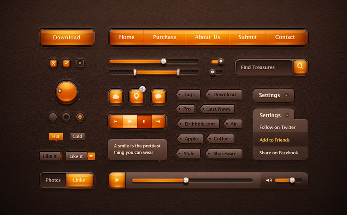 Orange Ui Pack User Interface Design Inspiration