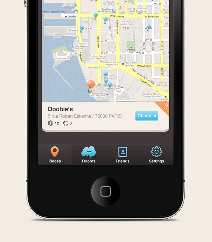 New iPhone app design | Map UI,UX interface User Interface Design Inspiration