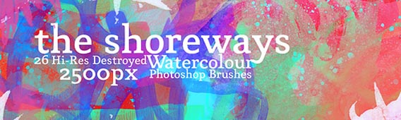 26 free destroyed watercolour PS brushes
