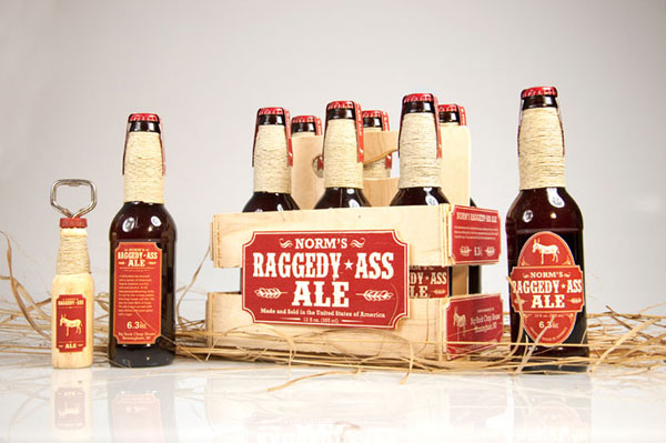Norm's Ragedy Ass Ale Wood Package Design Inspiration