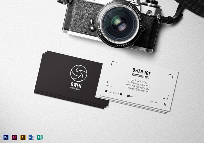 Creative Photography Business Cards Examples - Photography business card template