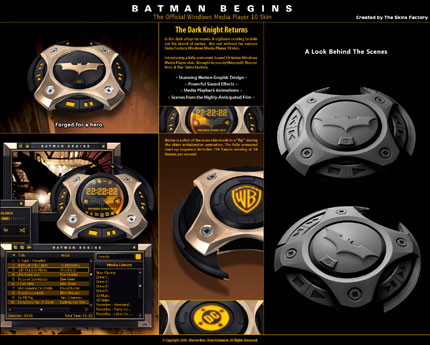 Batman Begins Windows Media Player skin