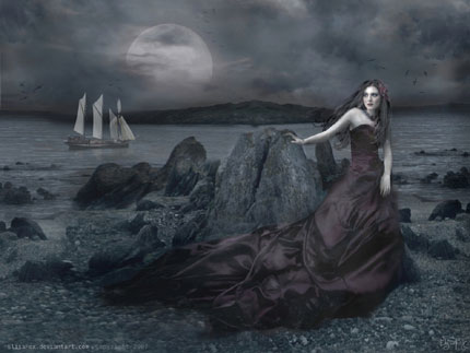Dark Princess of the Seashore Wallpaper