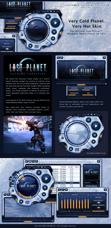 Lost Planet Windows Media Player skin