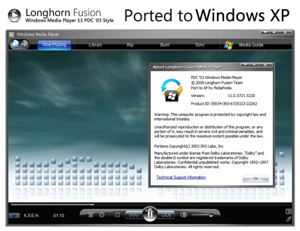 PDC '03 XP Windows Media Player skin