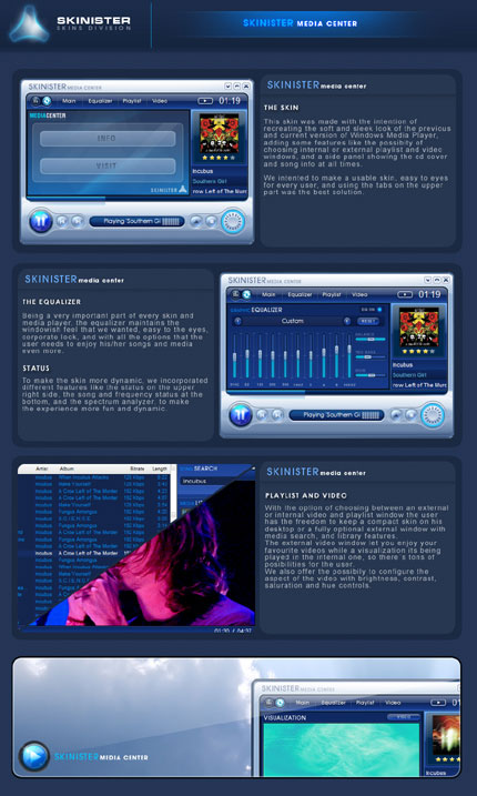Skinister media center Windows Media Player skin