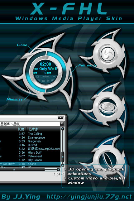 X-FHL Windows Media Player skin
