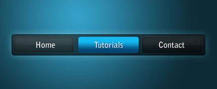 Blue on Black Navigation Bar Photoshop tutorial
