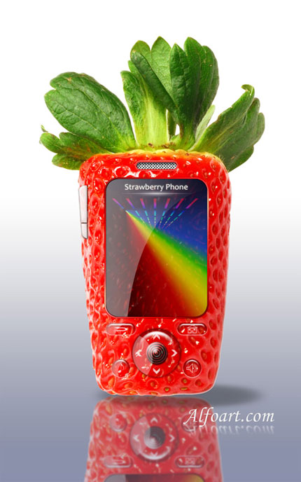 Strawberry Cell Phone Photoshop tutorial