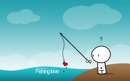 Fishing love vector wallpaper