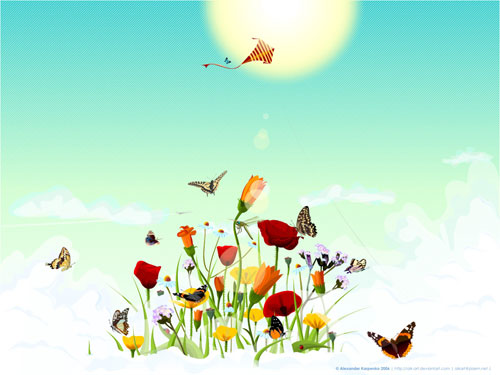 Heaven flowers vector wallpaper