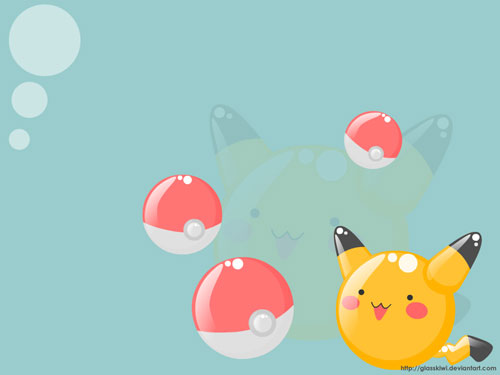 Pikachu + Pokeballs vector wallpaper