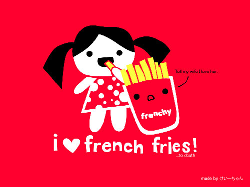 french fry love vector wallpaper
