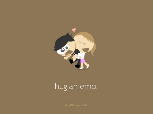 hug an emo - brown vector wallpaper